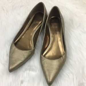 Nine West Pointy Toe Gold Flats